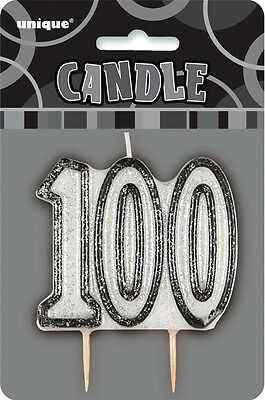 Glitz Birthday Black Numeral Candle 100TH Party Supplies Decoration Accessories