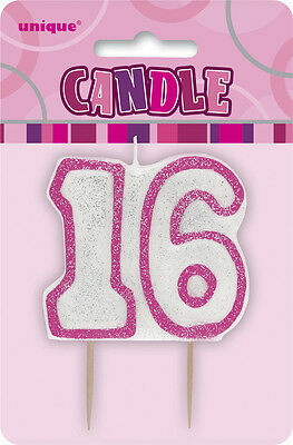 Glitz Birthday Pink Numeral Candle 16TH Party Supplies Decoration Accessories