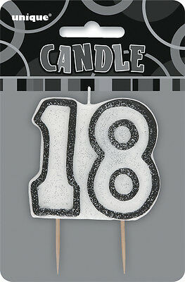 Glitz Birthday Black Numeral Candle 18TH Party Supplies Decoration Accessories