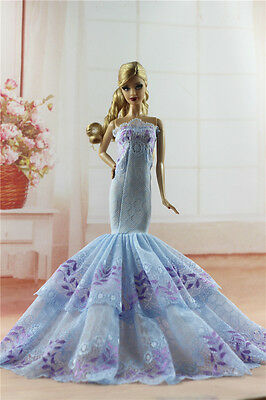 Royalty Mermaid Dress Party Dress/Wedding Clothes/Gown For Barbie Doll H03U
