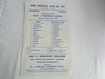 1968-69 CENTRAL LEAGUE RESERVES BURY v SHEFFIELD UNITED