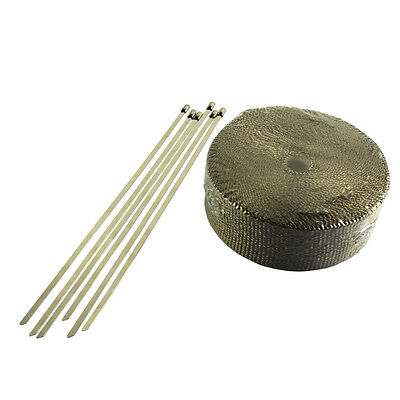 WRAP 50MM X 15M + 6 STAINLESS STEEL TIES 2000F TITANIUM EXHAUST HEAT AU Shipping