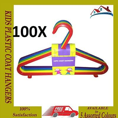 New 100 X Multi Coloured Childrens Kids Plastic Coat Hangers Child Baby Clothes