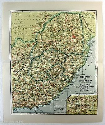 Original 1914 Map of The Union of South Africa by L. L Poates