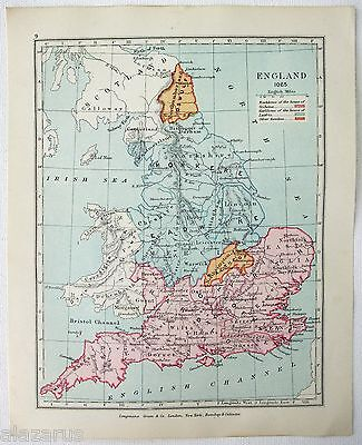 Original Longmans Map of England in the Year 1065