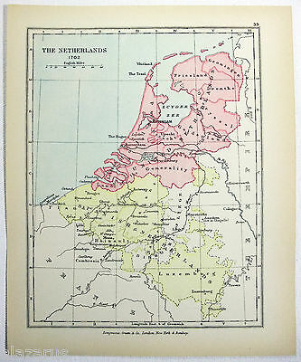 Vintage Longmans Map of The Netherlands in 1702