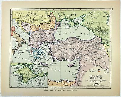Vintage Longmans Map of Southeastern Europe and Asia Minor in 1856