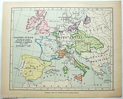 Vintage Longmans Map of Western Europe in May 1702