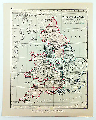 Vintage Map of England & Wales on December 9, 1643 by Longmans Green 1914