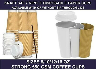 8/10/12/16oz Insulated Ripple Disposable Paper Kraft Coffee Cups,Lids , UK SELL