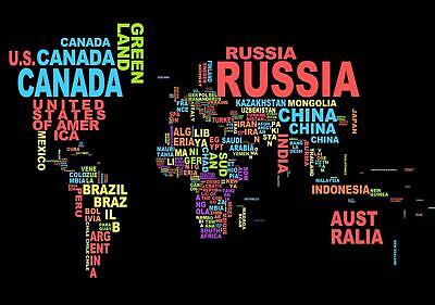 Modern Typography World Map colleges Educational poster schools A2, A1, A0 sizes