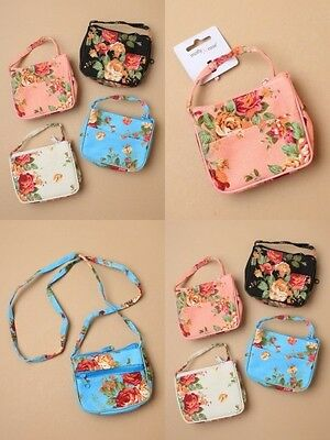 PACK OF 4 FLORAL ROSE PRINT HANDBAG / PURSE : 10x10cm, FASHION : SP-6360 PK4