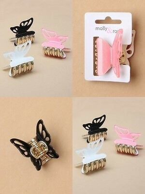 PACK OF 6 GLITTER BUTTERFLY 3cm CLAMPS / CLAW CLIPS, HAIR ACCESORY : SP-6419 PK6