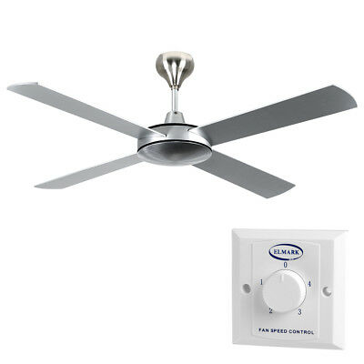 Modern Brushed Aluminium Large 52 4 Blade Ceiling Fan Cooling Fitting