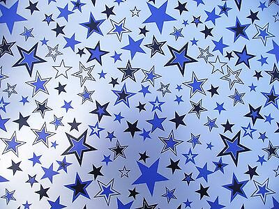 2 Sheets Stars Wrapping Paper, Silver Background - Birthday, Gift, Present (059)