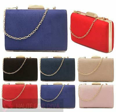 New Womens Gold Chain Clasp Hardcase Box Faux Suede Prom Party Purse Clutch Bag