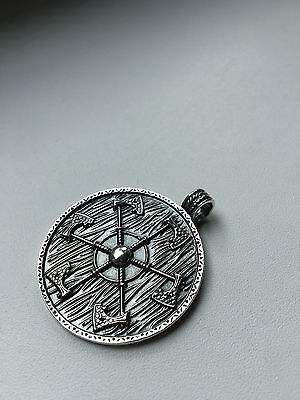 Solid Silver Sterling 925 Perun AXE on SHIELD VIKING PENDANT Ethnic