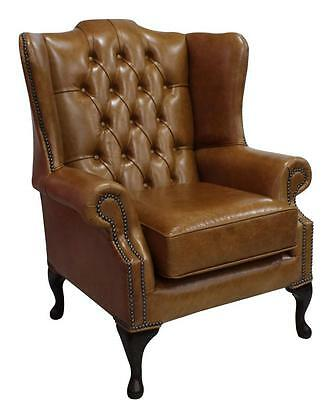 Chesterfield Mallory Queen Anne High Back Wing Chair Old English Saddle Leather