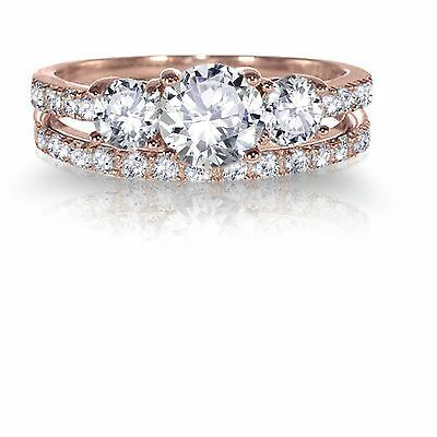 14k Rose Gold Plated Round Simulated Diamond Engagement Wedding Silver Ring Set