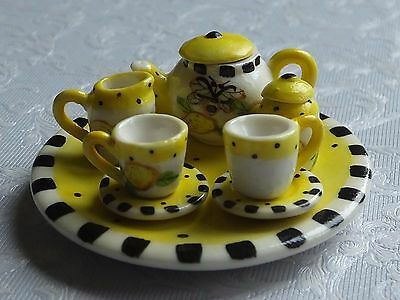 Dolls house miniatures: tea set and serving tray with lemon design