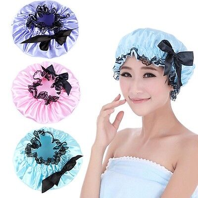 Women Lady Waterproof Elastic Plastic Bowknot Shower Bathing Salon Hair Caps Hat