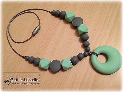 Mommy Baby Silicone Teething Nursing Necklace Teether Jewelry Mint Green Gray