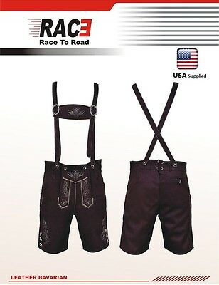Men Bavarian LEDERHOSEN Synthetic Suede Leather  with Matching Suspender Shorts