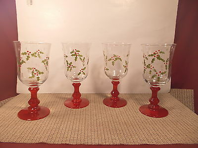 "Studio Nova Crystal Holly Berry Red Set of 4 Water Goblets 7 1/2"" NWT"
