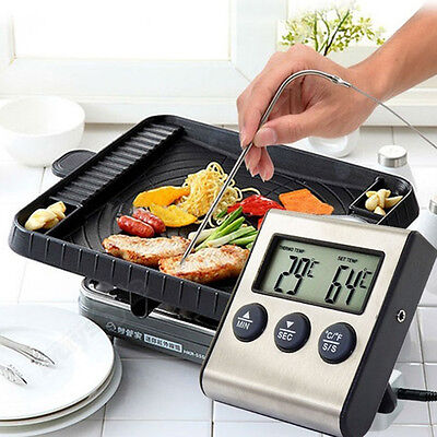 Digital LCD Thermometer Timer for BBQ Grill Meat Kitchen Oven Food Cooking
