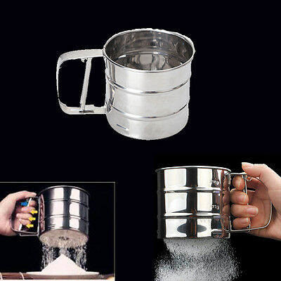 Stainless Steel Flour Sugar Icing Mesh Cup Sifter Shaker Baking Kitchen Tool