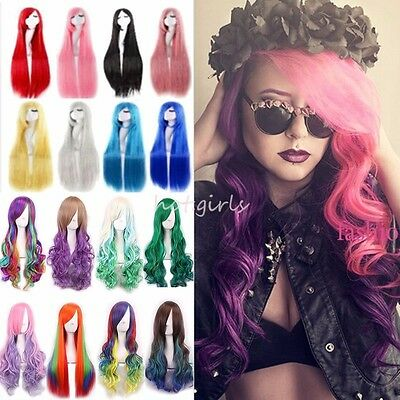 Chic Cheveux Long Perruque Cosplay Noir Brun Blond Rouge Rose Vert Mix Complet