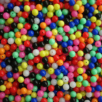 Lot 100Pcs Mixed Round 6mm Soft Plastic Beads  Fishing Tackle Tool Accessory New