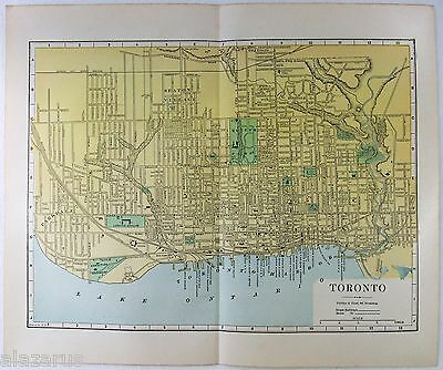 Original 1887 Street & Railroad Map / Plan of Toronto Ontario by Phillips & Hunt