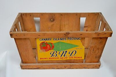Vintage Retro Wooden Pine Crate Box Tomatoes Shabby Chic 60s Storage Advertising