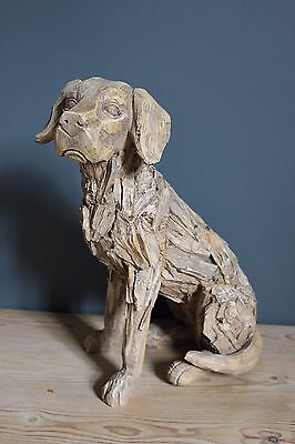 Labrador Dog Sculpture Driftwood Style Large Shabby Chic NEW ON TREND
