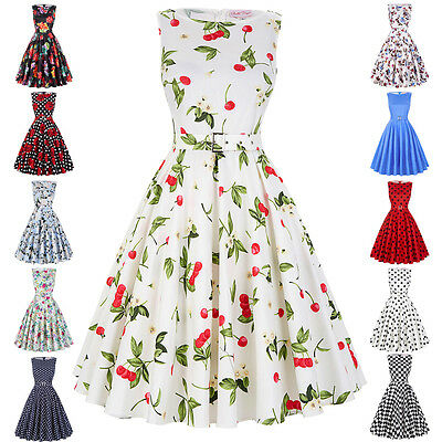 Women Vintage Retro 1960s 50s Pleated Dress Party Swing Cocktail Party Dresses