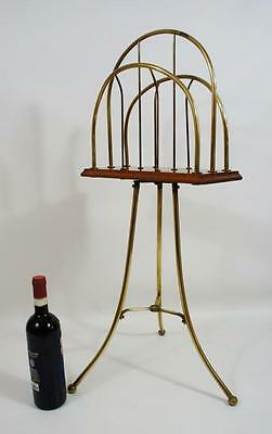 Edwardian decorative Brass/Oak revolving magazine/folio rack