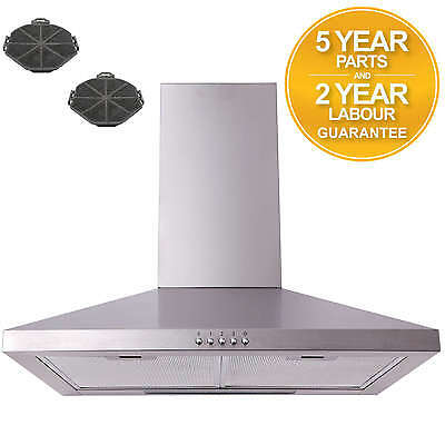 SIA CHL61SS 60cm Stainless Steel Chimney Cooker Hood Extractor + Carbon Filters