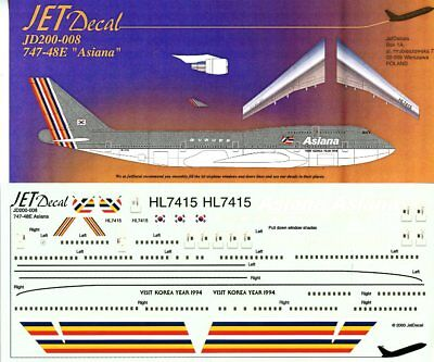 Jet Decal 1:200 Boeing 747-48E Asiana #200-008
