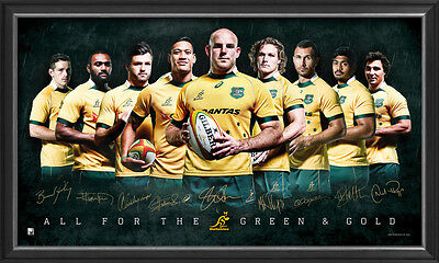 Wallabies 2015 World Cup Rugby Union Sportsprint Signed Framed + COA