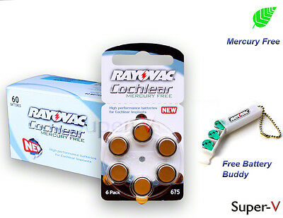 Rayovac Cochlear Implant Batteries Mercury Free 675P, 60pcs + Free Battery Buddy