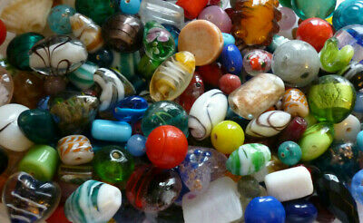 Assorted Colours ~ Mixed ~ Glass ~ Lampwork ~ Foil ~ Seed Beads ~ 50 grams