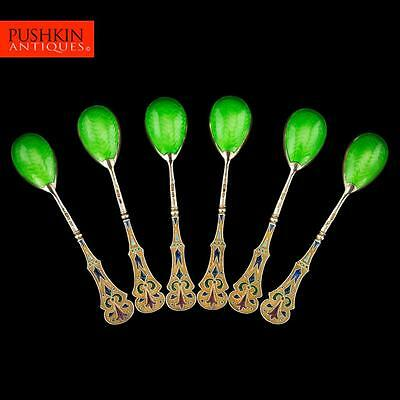 ANTIQUE 20thC RUSSIAN SOLID SILVER GILT 6 PLIQUE-A-JOUR ENAMEL SPOONS c.1900
