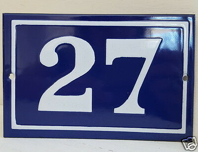 OLD FRENCH HOUSE NUMBER SIGN door gate PLATE PLAQUE Enamel steel metal 27 Blue