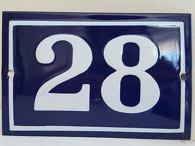 OLD FRENCH HOUSE NUMBER SIGN door gate PLATE PLAQUE Enamel steel metal 28 Blue