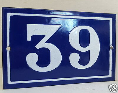 OLD FRENCH HOUSE NUMBER SIGN door gate PLATE PLAQUE Enamel steel metal 39 Blue