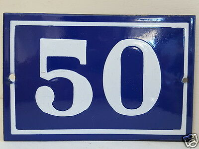 OLD FRENCH HOUSE NUMBER SIGN door gate PLATE PLAQUE Enamel steel metal 50 Blue