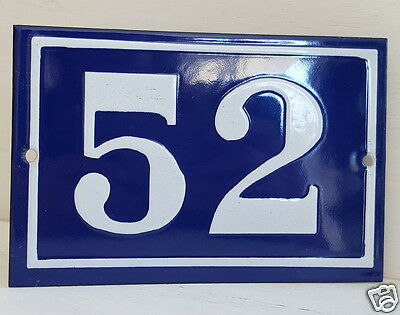 OLD FRENCH HOUSE NUMBER SIGN door gate PLATE PLAQUE Enamel steel metal 52 Blue