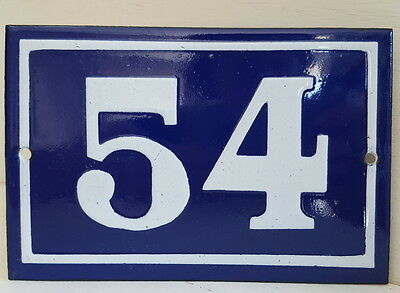 OLD FRENCH HOUSE NUMBER SIGN door gate PLATE PLAQUE Enamel steel metal 54 Blue