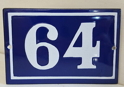 OLD FRENCH HOUSE NUMBER SIGN door gate PLATE PLAQUE Enamel steel metal 64 Blue